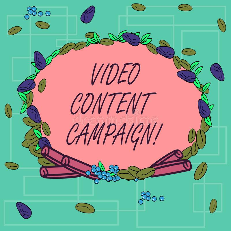 Word writing text Video Content Campaign. Business concept for Integrates engaging video into marketing campaigns Wreath. Made of Different Color Seeds Leaves vector illustration