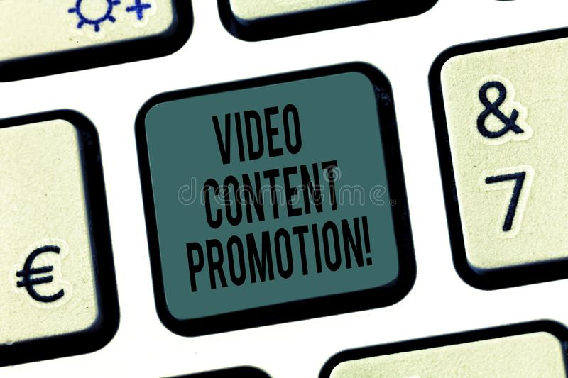 Word writing text Video Content Promotion. Business concept for video with the intent to promote the products Keyboard stock image