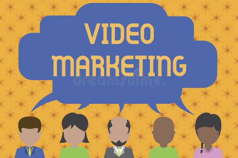 Word writing text Video Marketing. Business concept for create short videos about specific topics using articles Five. Word writing text Video Marketing stock illustration