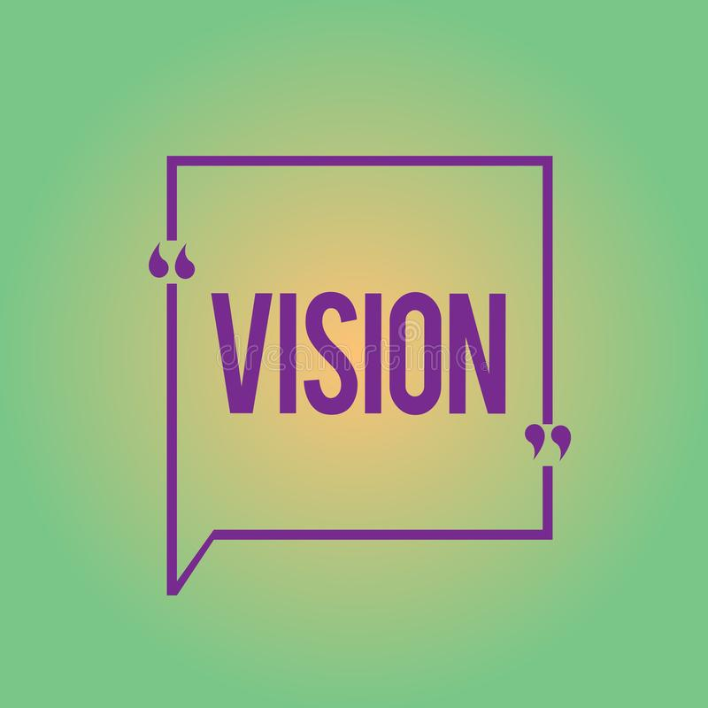 Word writing text Vision. Business concept for Being able to see Objective Inspiration Planning for future.  vector illustration