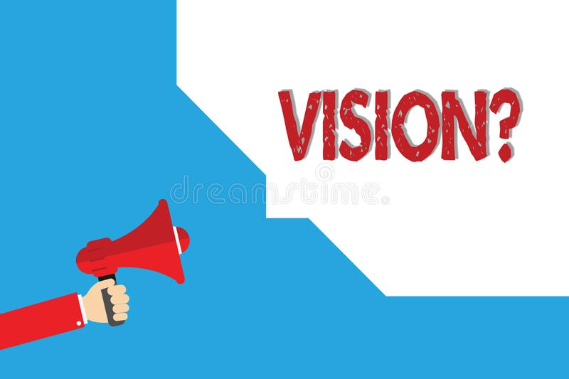 Word writing text Vision question. Business concept for Being able to see Objective Inspiration Planning for future.  vector illustration