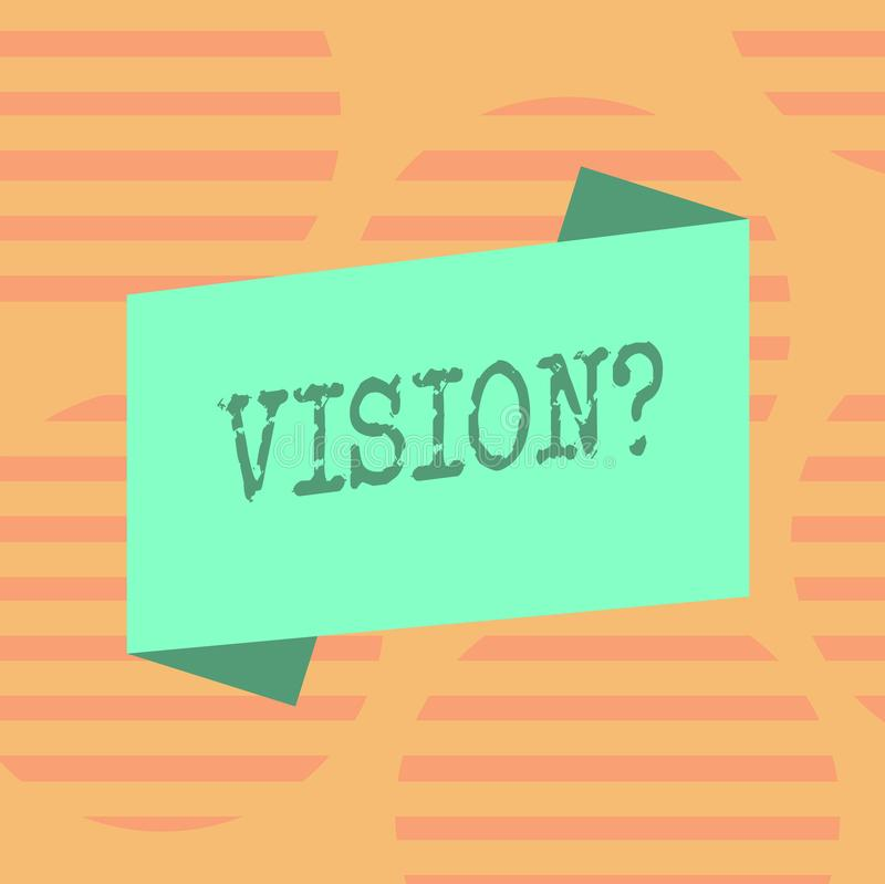 Word writing text Visionquestion. Business concept for Company commitment describing future realistic state Blank Color. Word writing text Visionquestion royalty free illustration