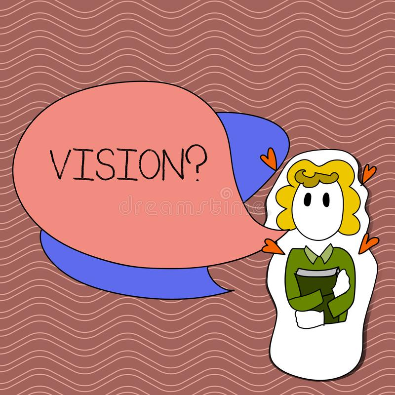 Word writing text Visionquestion. Business concept for Company commitment describing future realistic state Girl Holding. Word writing text Visionquestion stock illustration