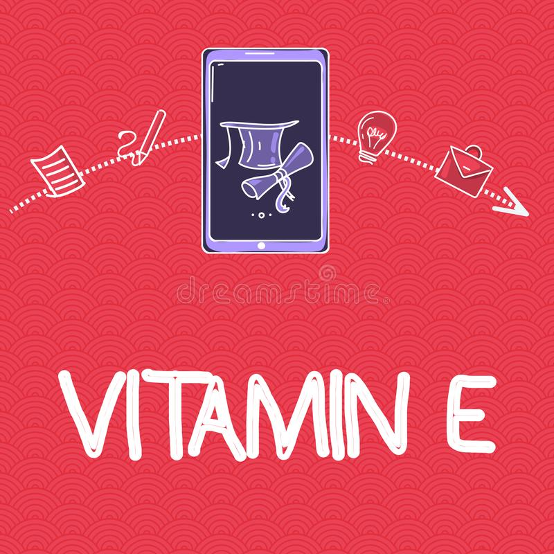 Word writing text Vitamin E. Business concept for Antioxidant Protects body tissue from damage caused by substances.  vector illustration
