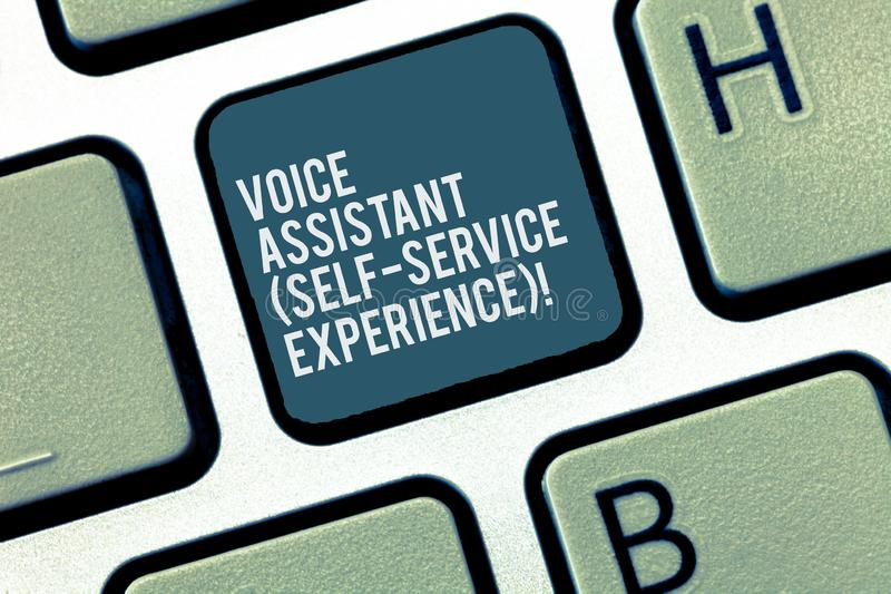 Word writing text Voice Assistant Self Service Experience. Business concept for Artificial intelligence chat bot. Keyboard key Intention to create computer royalty free stock photo