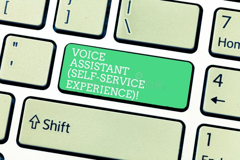 Word writing text Voice Assistant Self Service Experience. Business concept for Artificial intelligence chat bot. Keyboard key Intention to create computer royalty free stock photos