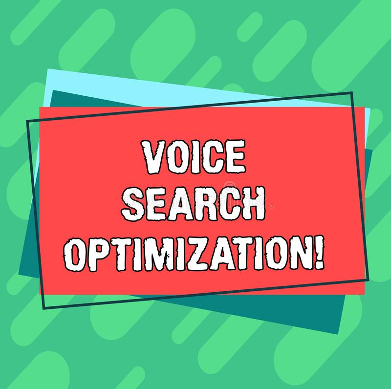 Word writing text Voice Search Optimization. Business concept for enhance web searching through spoken comanalysisds Pile of Blank. Rectangular Outlined vector illustration