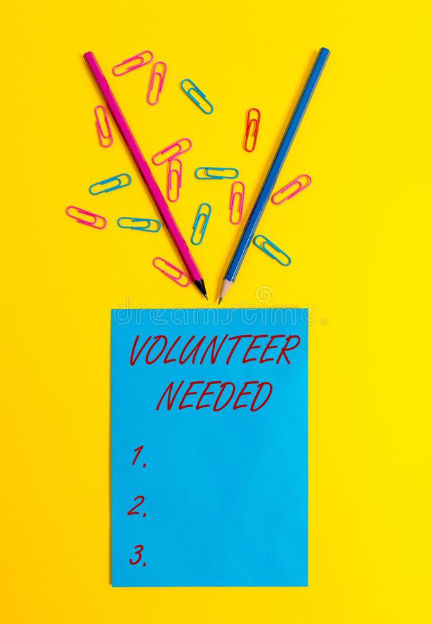 Word writing text Volunteer Needed. Business concept for Looking for helper to do task without pay or compensation Blank. Word writing text Volunteer Needed royalty free stock photography