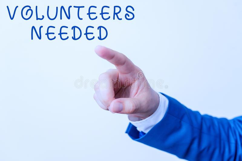 Word writing text Volunteers Needed. Business concept for need work or help for organization without being paid Isolated. Word writing text Volunteers Needed royalty free stock images