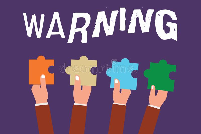 Word writing text Warning. Business concept for Advice Sign for possible danger Safety symbol Caution alert stock illustration