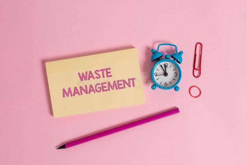 Word writing text Waste Management. Business concept for actions required analysisage rubbish inception to final. Word writing text Waste Management. Business royalty free stock image