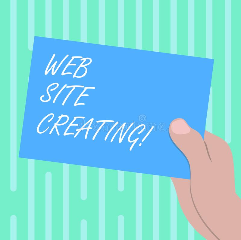 Word writing text Web Site Creating. Business concept for create site layout content production and graphic design Drawn. Hu analysis Hand Holding Presenting royalty free illustration