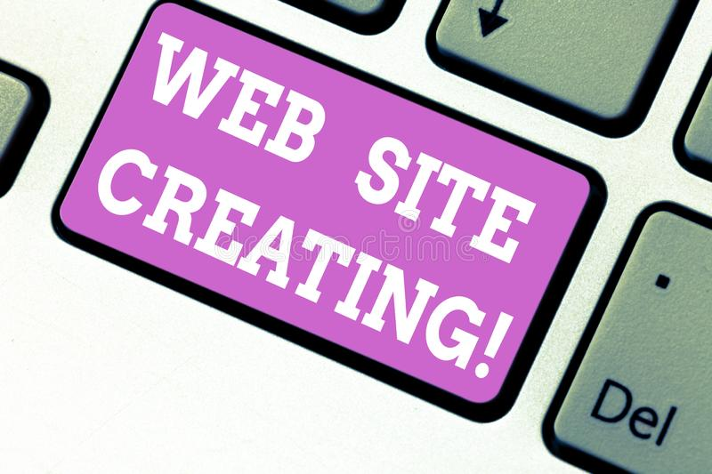 Word writing text Web Site Creating. Business concept for create site layout content production and graphic design royalty free stock image