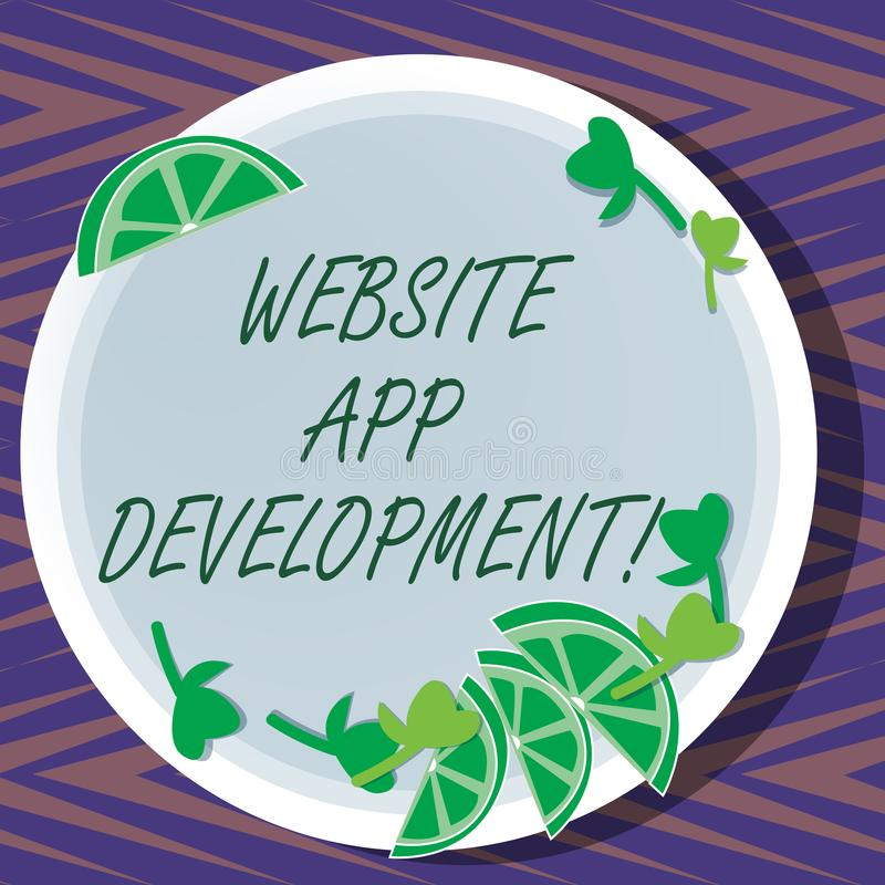 Word writing text Website App Development. Business concept for Creation of application programs save on servers Cutouts of Sliced. Lime Wedge and Herb Leaves stock illustration