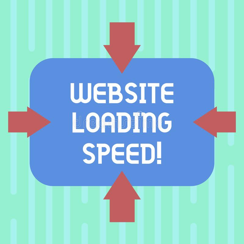 Word writing text Website Loading Speed. Business concept for time takes to display the entire content of a webpage. Arrows on Four Sides of Blank Rectangular stock illustration