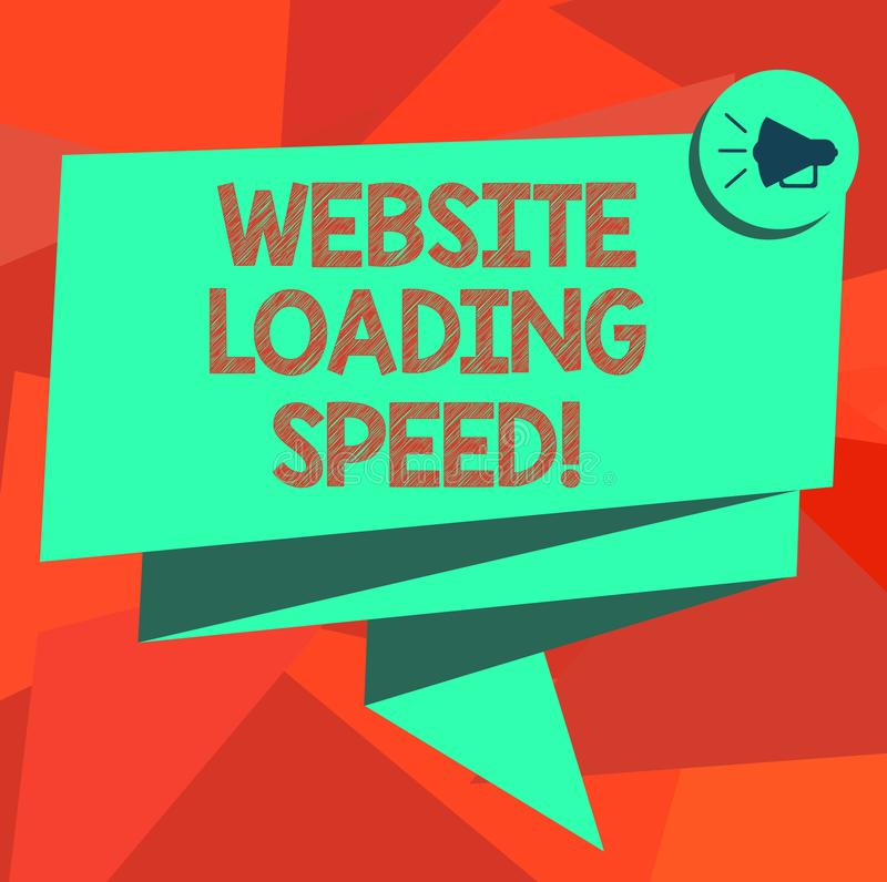 Word writing text Website Loading Speed. Business concept for time takes to display the entire content of a webpage. Folded 3D Ribbon Sash Megaphone Speech royalty free illustration