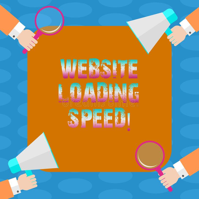 Word writing text Website Loading Speed. Business concept for time takes to display the entire content of a webpage Hu analysis. Hands Each Holding Magnifying vector illustration
