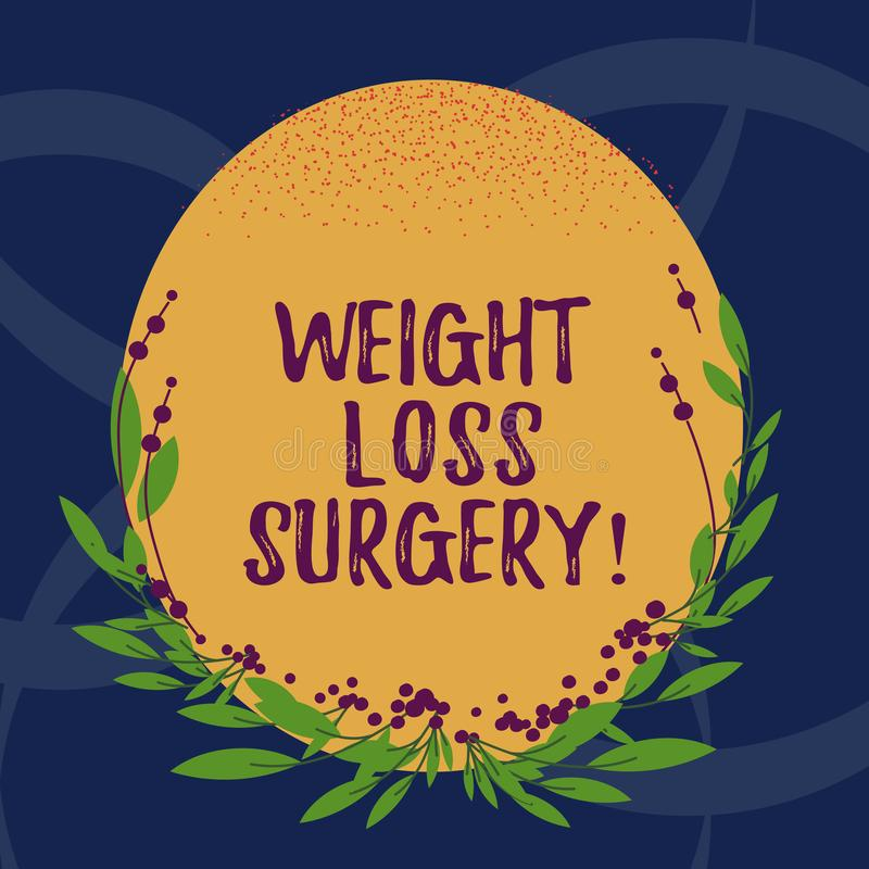 Word writing text Weight Loss Surgery. Business concept for do on stomach intestines to help demonstrating extreme. Obesity Blank Color Oval Shape with Leaves vector illustration