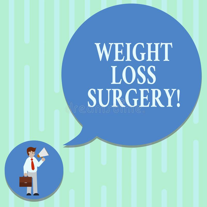 Word writing text Weight Loss Surgery. Business concept for do on stomach intestines to help demonstrating extreme. Obesity Man in Necktie Carrying Briefcase royalty free illustration