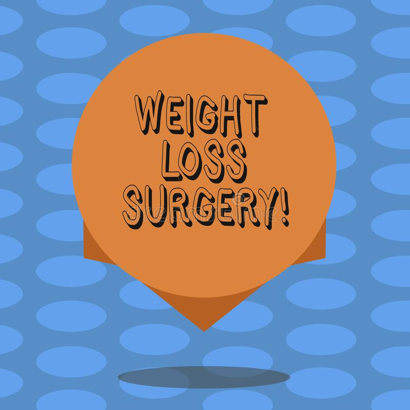 Word writing text Weight Loss Surgery. Business concept for do on stomach intestines to help demonstrating extreme. Obesity Blank Color Circle Floating photo stock illustration