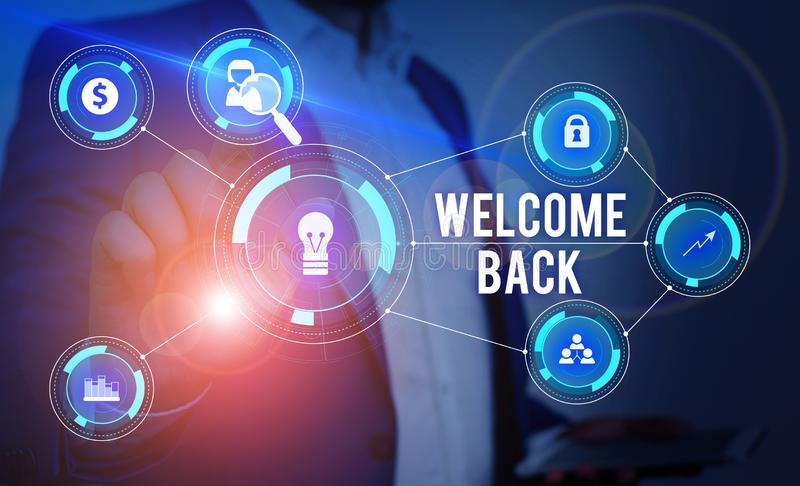 Word writing text Welcome Back. Business concept for Warm Greetings Arrived Repeat Gladly Accepted Pleased Male human stock images