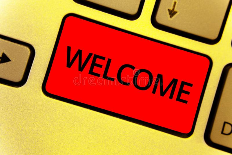 Word writing text Welcome. Business concept for Warm salutation acknowledgement for someone amiable loved thanked Keyboard key Int. Ention create idea yellow stock photo