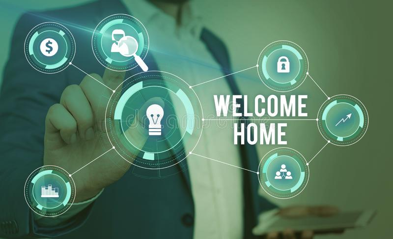Word writing text Welcome Home. Business concept for Expression Greetings New Owners Domicile Doormat Entry Male human. Word writing text Welcome Home. Business royalty free stock photos