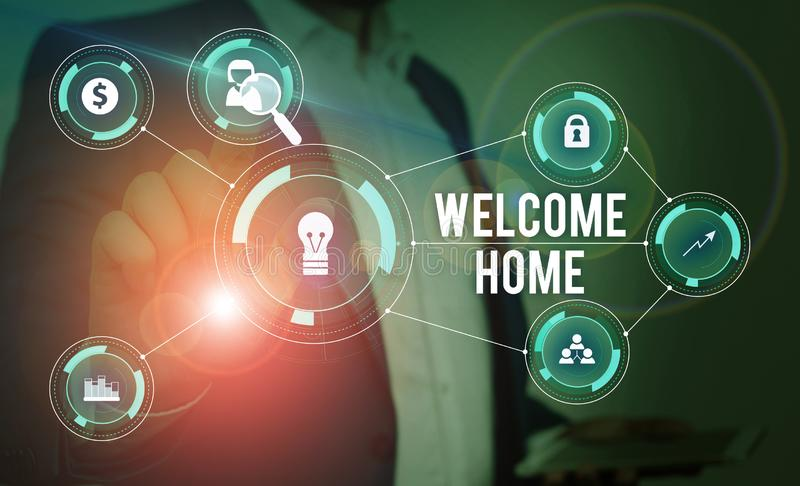 Word writing text Welcome Home. Business concept for Expression Greetings New Owners Domicile Doormat Entry Male human wear formal. Word writing text Welcome royalty free stock photography