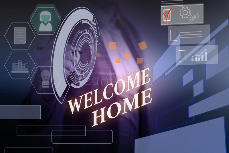Word writing text Welcome Home. Business concept for Expression Greetings New Owners Domicile Doormat Entry Woman wear. Word writing text Welcome Home. Business stock image