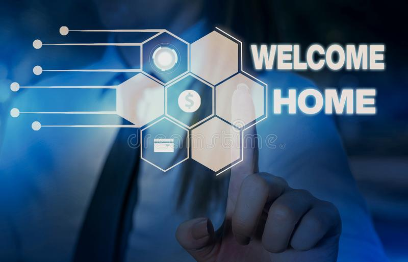 Word writing text Welcome Home. Business concept for Expression Greetings New Owners Domicile Doormat Entry Woman wear. Word writing text Welcome Home. Business stock photos