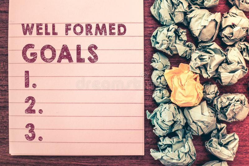 Word writing text Well Formed Goals. Business concept for Inner Coaching Straight forward objectives or target.  royalty free stock photography
