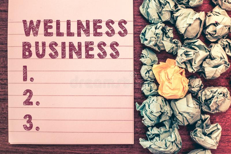 Word writing text Wellness Business. Business concept for Professional venture focusing the health of mind and body stock images