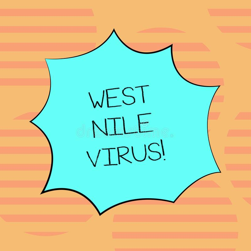 Word writing text West Nile Virus. Business concept for Viral infection cause typically spread by mosquitoes Blank Color. Explosion Blast Scream Speech Bubble vector illustration