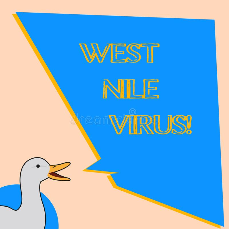 Word writing text West Nile Virus. Business concept for Viral infection cause typically spread by mosquitoes. Word writing text West Nile Virus. Business stock illustration