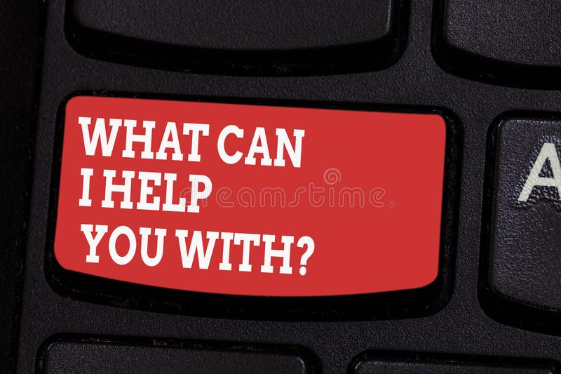 Word writing text What Can I Help You With. Business concept for Offering assistance Experts advice support ideas. Keyboard key Intention to create computer stock image