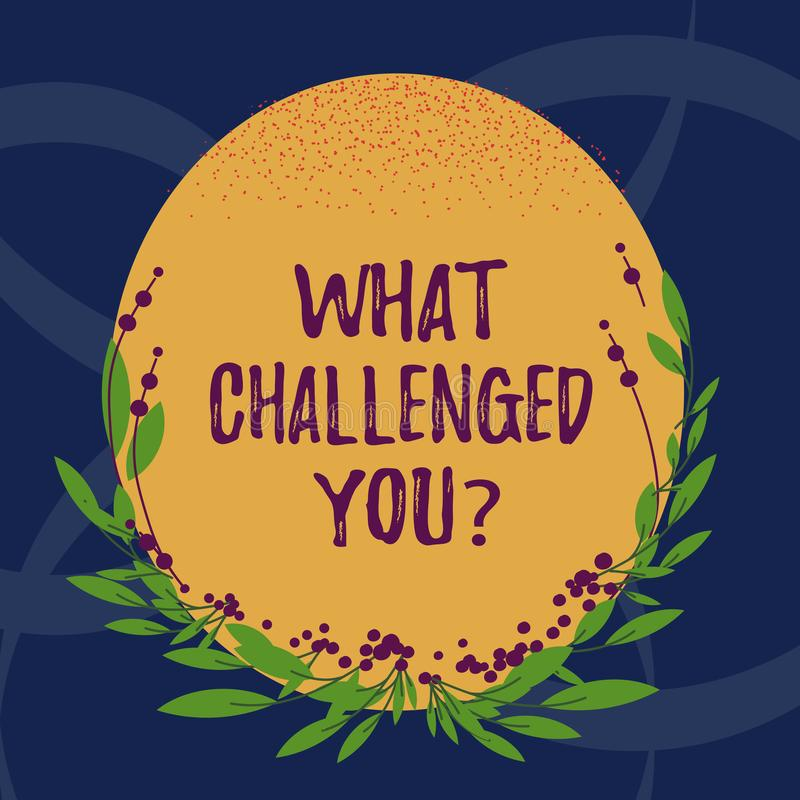 Word writing text What Challenged You. Business concept for call someone to participate in competitive situation Blank. Color Oval Shape with Leaves and Buds as royalty free illustration