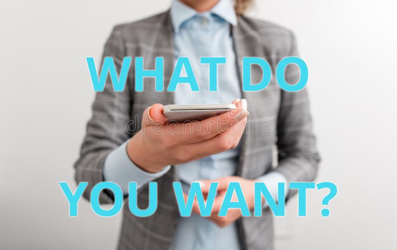 Word writing text What Do You Want Question. Business concept for say or write in order to ask demonstrating about. Word writing text What Do You Want Question stock image
