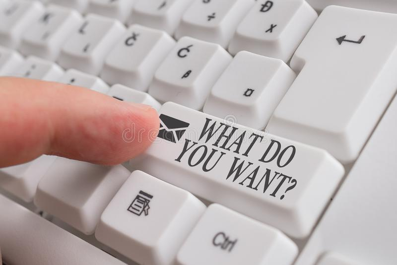 Word writing text What Do You Want Question. Business concept for say or write in order to ask demonstrating about. Word writing text What Do You Want Question royalty free stock photos