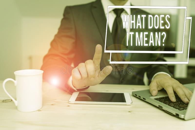 Word writing text What Does It Mean Question. Business concept for Give me the meaning of something Definition. Word writing text What Does It Mean Question royalty free stock photo