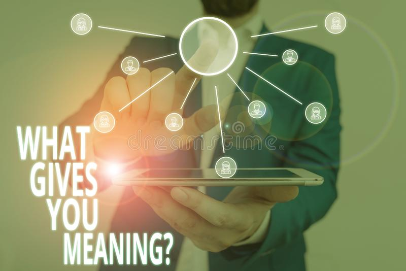 Word writing text What Gives You Meaning Question. Business concept for your purpose or intentions in life Male human. Word writing text What Gives You Meaning stock photo