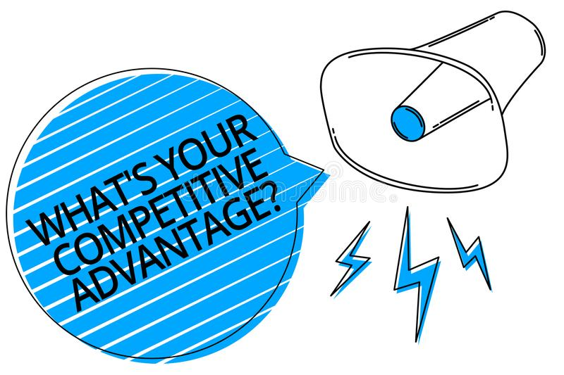 Word writing text What s is Your Competitive Advantage question. Business concept for Marketing strategy Plan Megaphone loudspeake stock illustration