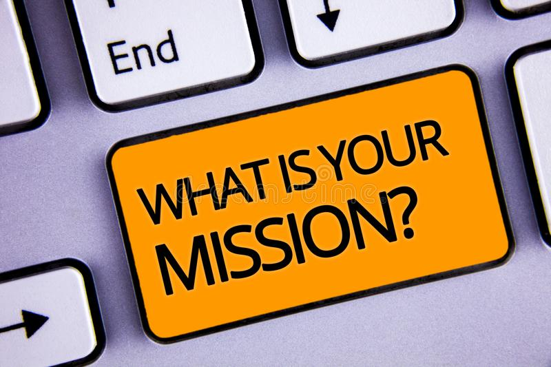 Word writing text What Is You Mission Question. Business concept for asking someone about his plans and to-do list Silvery keyboar. D yellow button two arrow key stock photo