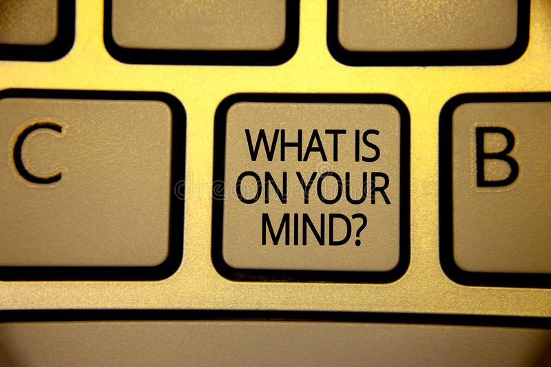 Word writing text What Is On Your Mind Question. Business concept for Open minded thinks of intellectual innovation Keyboard brown. Yellow key Intention create stock photos