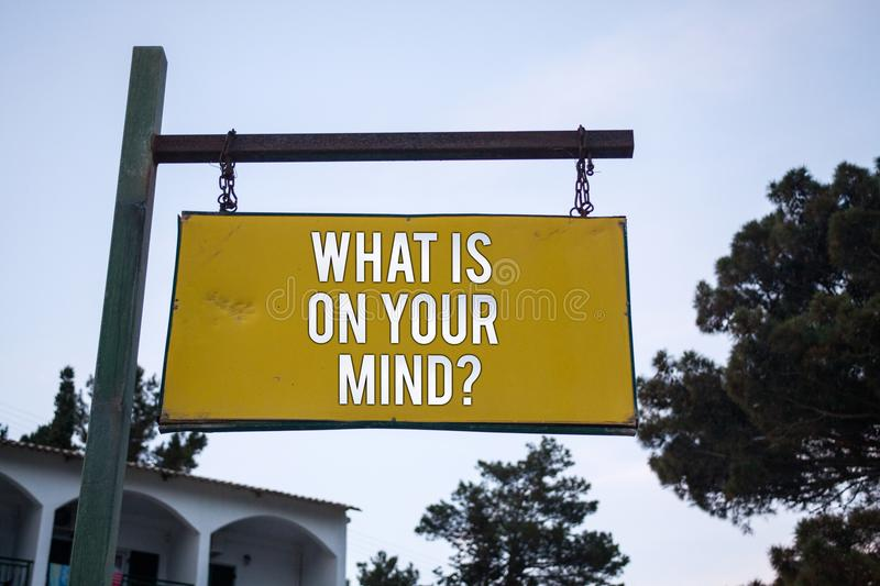 Word writing text What Is On Your Mind Question. Business concept for Open minded thinks of intellectual innovation Wooden board h. Ang hanging post ideas stock image