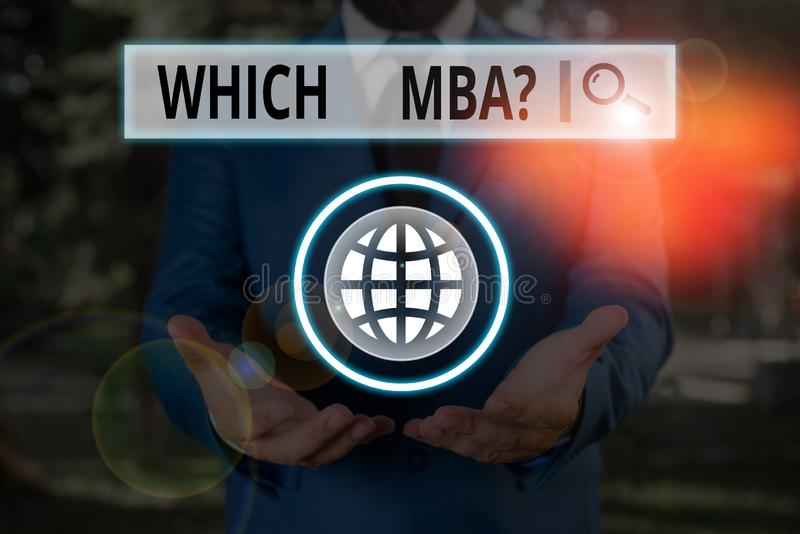 Word writing text Which Mbaquestion. Business concept for asking for master s is degree in business administration. Word writing text Which Mbaquestion stock photo