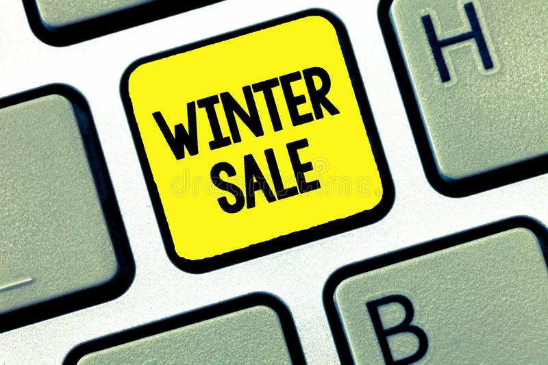 Word writing text Winter Sale. Business concept for Discounts offered at the end of year Holiday sales lower prices.  stock images