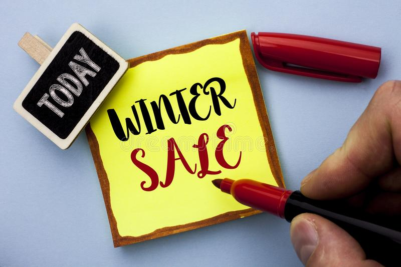 Word writing text Winter Sale. Business concept for Promotion Offer Shop Discount Season Offers Auction Deal Objective written by stock photos