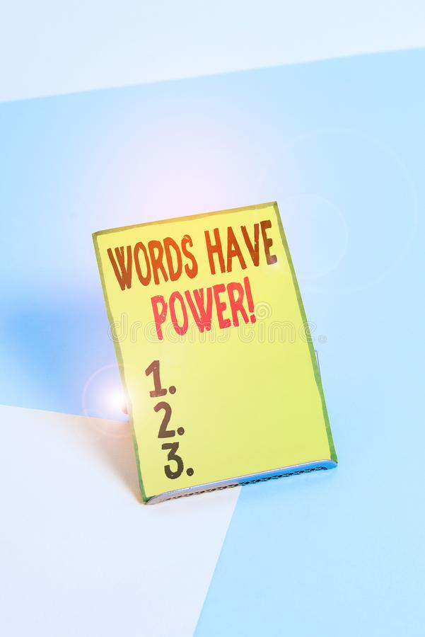 Word writing text Words Have Power. Business concept for as they has ability to help heal hurt or harm someone Paper placed tilted royalty free stock photography