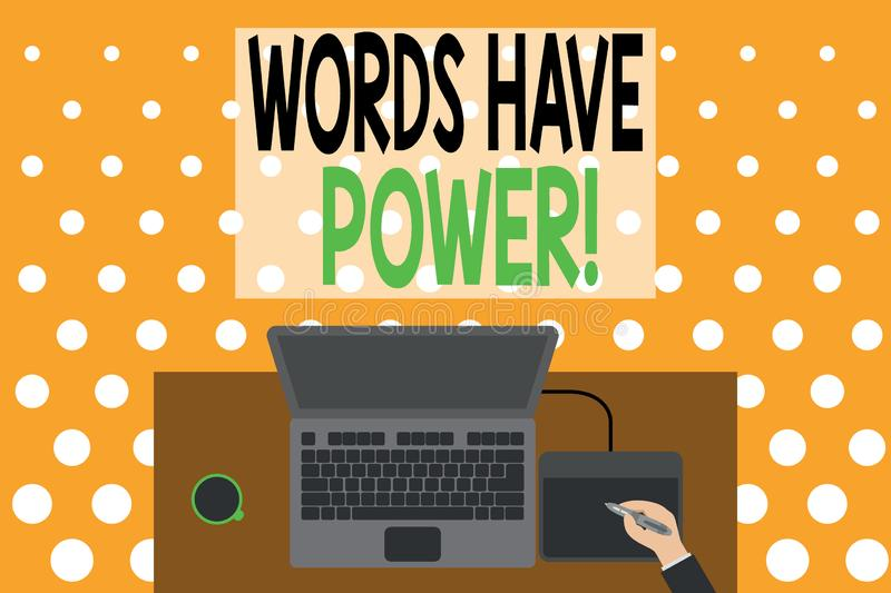 Word writing text Words Have Power. Business concept for as they has ability to help heal hurt or harm someone Upper view laptop vector illustration