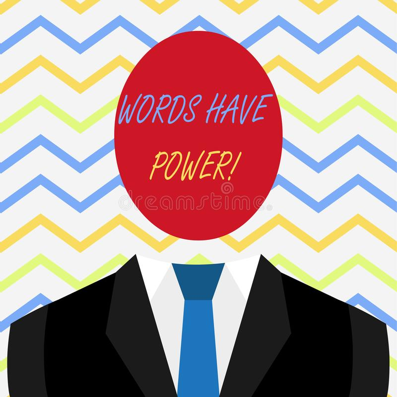 Word writing text Words Have Power. Business concept for as they has ability to help heal hurt or harm someone. stock illustration